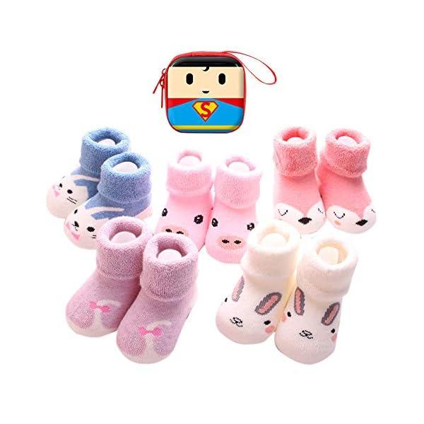 Sweetneed 5 Pares Calcetines Recien Nacido niño Calcetines de recién nacido Calcetines bebe niña Invierno 0-36 Meses 1