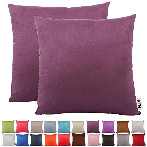 Plandv® - Lot de 2 housses de coussin - Couleur unie, imitation daim, légères, décoration, violet, 40 x 40 cm