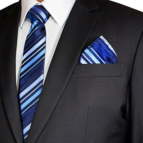 Soul Cats® SET: gemusterte Krawatte mit Einstecktuch + Anleitung Streifen Schlips Herren, Modell:Modell 7 (Breite Streifen-krawatte)