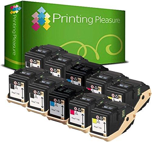 10 Toner kompatibel für Xerox Phaser 7100 7100N 7100DN 7100V/N 7100V/DN - Schwarz/Cyan/Magenta/Gelb, hohe Kapazität (BK 5.000 & C/M/Y 4.500 Seiten) -