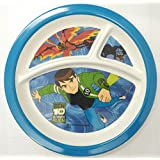 HMI Cartoon Character 3 Section Round Melamine Plate For Kids (Ben 10 Alien Force, 4 Ounce)