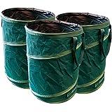 Sacs de déchets de jardin GloryTec Pop-Up 3 x 170 litres | Sacs de déchets auto-montés en polyester robuste Oxford 600D | Prime Pop-up sacs pour feuillages auto-debout et pliables
