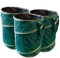GloryTec Pop-Up Gartensack 3 x 170 Liter | Selbstaufstellende Gartenabfallsäcke aus extrem robustem Polyester Oxford 600D | Premium Pop-Up Laubsäcke Selbststehend und Faltbar