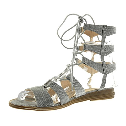 Angkorly Mode Chaussures Gladiateur Sandales Sexy Femme Broderie Multi-bridon Bloc Talon 2 Cm Gris