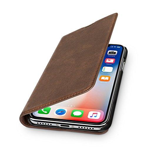 WIIUKA Echt Ledertasche - TRAVEL Nature - für Apple iPhone X und XS -DEUTSCHES Leder- Vintage Braun, kabelloses Laden Qi, mit Kartenfach extra Dünn Tasche Premium Design Leder Hülle Case