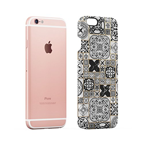 Light Blue Moroccan Ornaments Mosaic On White Marble Dünne Rückschale aus Hartplastik für iPhone 6 Plus & iPhone 6s Plus Handy Hülle Schutzhülle Slim Fit Case cover Black Moroccan Mosaic