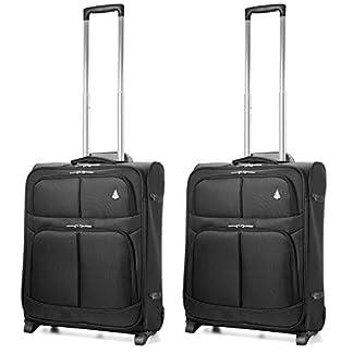 Aerolite 56x45x25 Tamaño Máximo de Easyjet, Iberia, Jet2 y British Airways 60L Trolley Maleta Equipaje de mano cabina ligera con 2 ruedas, 2 x Negro