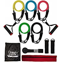 Protone resistance bands set - 5 tube set with handles, door anchor, ankle straps and carry bag for home fitness / travel fitness / strength - exercise bands for men and women