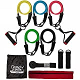 Protone resistance bands set – 5 tube set with handles, door anchor, ankle straps and carry bag for home fitness / travel fitness / strength