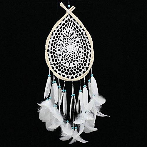 Handgefertigt Perlen Feather Dream Catcher traditionellen Wassertröpfchen Dreamcatcher indischen Weiß Federn Home Decor Wand Auto Aufhängen Ornament Geschenk