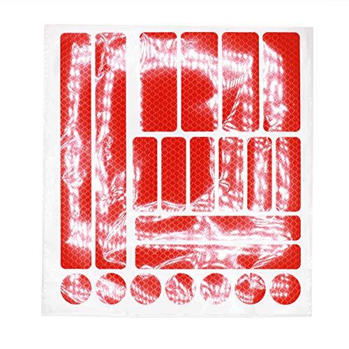 JCstarrie Adesivi Catarifrangenti 21 Pz Nastro Riflettente Strisce adesive Adesivi visibilità Notturna e Sicurezza per caschi Bici, Auto, Moto, passeggini, ECC. Rosso
