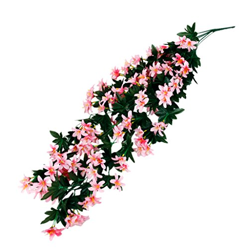 1 Mazzetto Piante Di Seta Appesi Artificiale Giglio Ghirlanda Di Fiori Decorazione Partito Pink