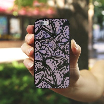 Apple iPhone X Silikon Hülle Case Schutzhülle Schmetterlinge Flügel Lila Silikon Case schwarz / weiß