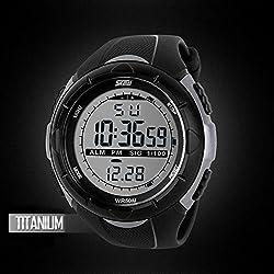 CALISTOUS Men's LED Digital Date Watch Military Sport Rubber Quartz Titanium