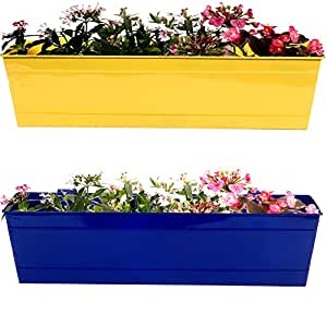 Trust Basket Set Of 2- Rectangular Railing Planter -Yellow And Blue (23 Inch)