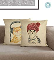 STITCHNEST Cute Cats Digital Printed Jute Cushion Covers (12x12-inch, White) - Set of 2