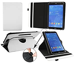 Emartbuy® 360 Degree Rotating Stand Folio Wallet Case Cover for ibowin M800Q (Size 7-8 inch 360_White Plain)