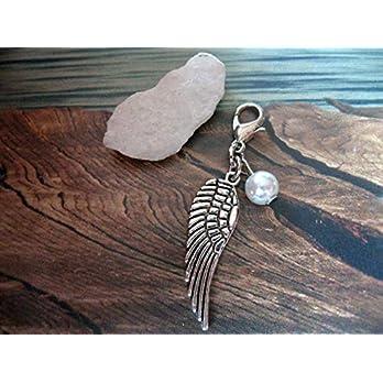 Handmade Anhänger/Charm Flügel, Perle Weiß- Farbe und Größe der Perle frei wählbar