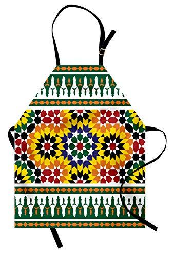 ABAKUHAUS marokkanisch Kochschürze, Vibrierendes altes Mode-Indie-Afrikaner-Stammes- Muster mit Osteinflüssen drucken, Farbfest Höhenverstellbar Waschbar Klarer Digitaldruck, Gelb Grün