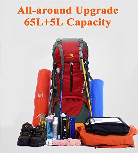 65L + 5L Besonders große Kapazität Im Freien Nylon wasserdichter Rucksack-High Grade Tasche Wanderrucksack Camping Rucksäcke 5