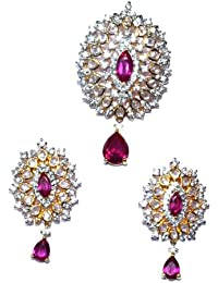 Parshva 5.3' Traditional Leafy Shape Pendant Set For Women