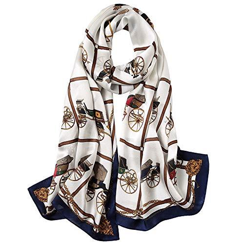 XXTT Damen Damen 100% Seidenschals Leichte, hochwertige Schals aus Seide und Satin Sonnenschutz Lange Satinschals Eine Vielzahl von Stilen,Brown -
