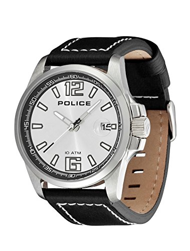 Police Unisex Quartz Watch with Silver Dial Analogue Display and Black Leather Strap 12591JS/04