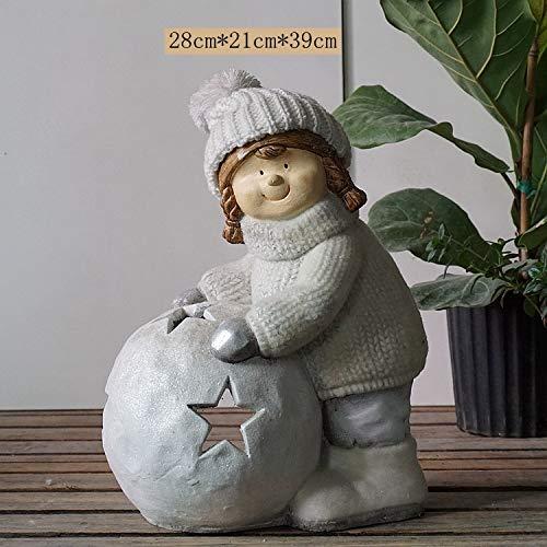 Powzz Décoration de Jardin, terrasse, résine, Animal, marionnette, Ornements, décoration de Jardin, Boule de Neige pour Fille