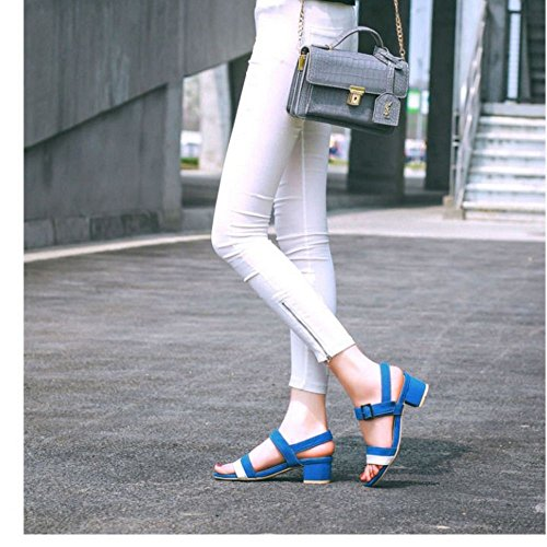 COOLCEPT Femmes Mode Confortable Mary Jane Mid Chunky Talon Sandales for Robe Travail Bureau Bleu