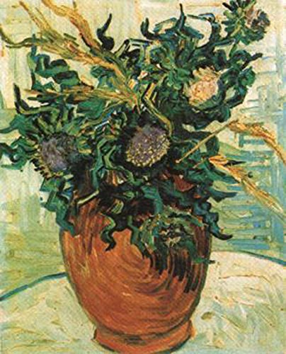 Vase with Flower and Thistles,Vincent Van Gogh,41x34cm Thistle Vase