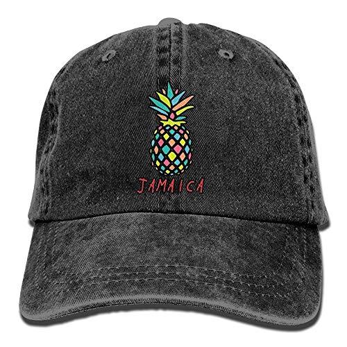 Men Women Classic Denim Jamaica Pineapple Adjustable Baseball Cap Dad Hat Low Profile Perfect for Outdoor -