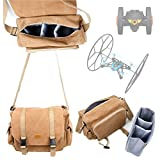 DURAGADGET Tan-Brown Large Sized Canvas Carry Bag for Parrot Rolling Spider / Jumping Sumo Mini-Drone Quadcopter - With Multiple Pockets & Customizable Interior Compartment