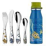 WMF Disney Findet Nemo Kinderbesteck, 5-teilig, mit Trinkflasche, ab 3 Jahren, Cromargan Edelstahl poliert, spülmaschinengeeignet, farb- und lebensmittelecht