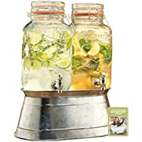 2 Glass Beverage Dispensers 1gal Each with Locking Clamps and