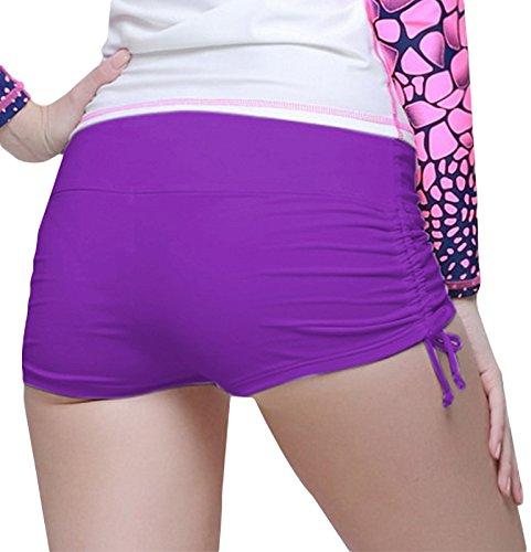 Damen Badeshorts Bikinihose Hotpants Sportbikini Schwimmshorts Bunte Farben Lila
