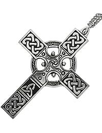 Hecha a mano cruz celta Knotwork peltre colgante # 1~ 18+ 4) extensor cadena