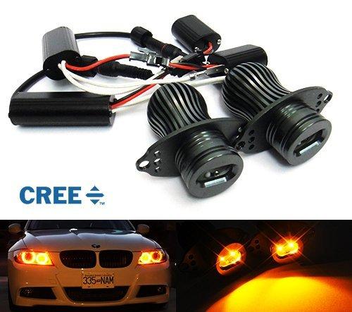 Preisvergleich Produktbild 2 x E90 E91 3 Serie Scheinwerfer CREE LED Angel Eye Halo Ring Light Amber