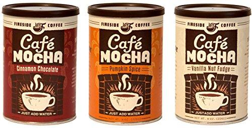 Fireside Kaffee Instant-Gourmet-Kaffee Bundle Variety Pack 3 (Zimt Schokolade, Kürbis-Gewürz, Vanille-Nuss Fudge)