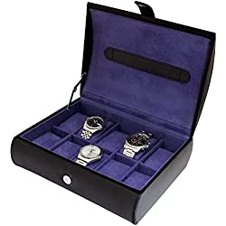 Gents Genuine Black Bonded Leather 10 Watch Storage Case Organiser Box with Purple Interior