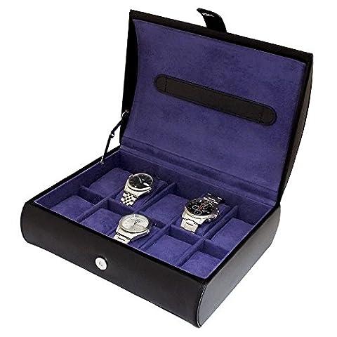 Gents Genuine Black Bonded Leather 10 Watch Storage Case Organiser Box with Purple Interior