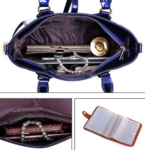 FZHLY Neues Dreiteiliges Set Der Tasche Der Mutter Einfache Wilde Damen-Tasche DarkPurple