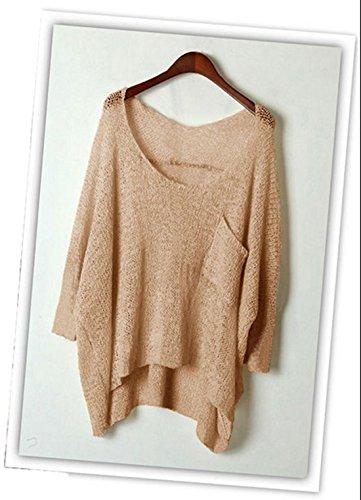 Miracleoccur Donne Casual Moda V Collo Maglione a Maniche Lunghe Sexy Pullover Jumper Maglione Oversize Sweater Albicocca