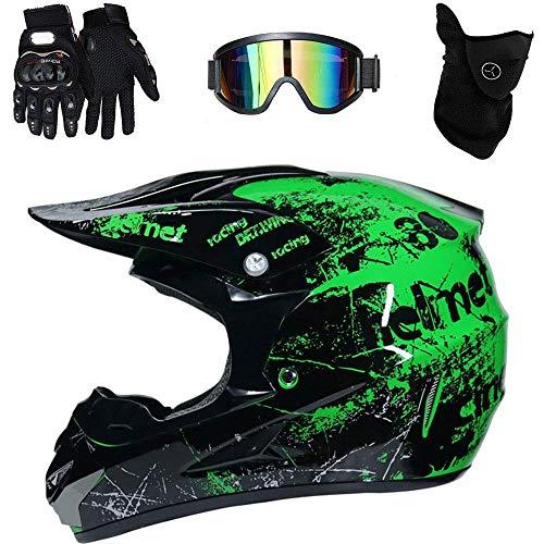 Preisvergleich Produktbild Motorrad-Helm Cross Country Zertifizierung D.O.T Endurance Race ATV MTB Helm,  Stereo Safety Helmet Breathable Inklusive Gläser / Handschuhe / Maske, Green, M