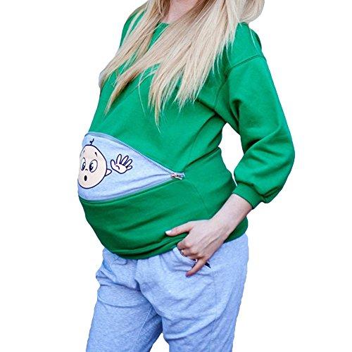 Gagacity Schwangerschaftsshirt Baby Lustig Langarm Sweatshirt Umstandsshirt Trachten Shirt für Schwangere Schwangerschaft Bluse Grün/S