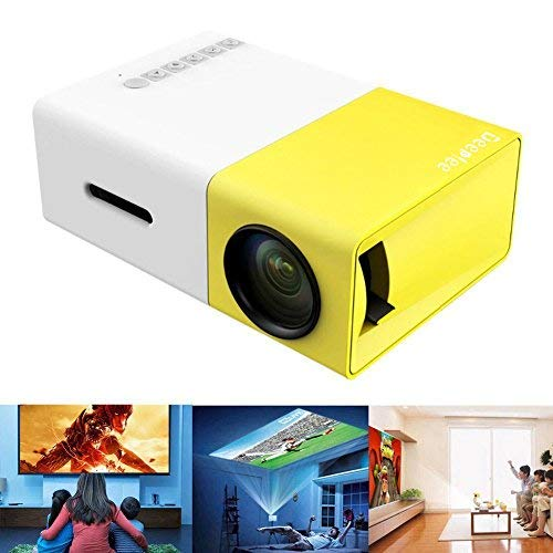 Deeplee Mini Projector, Portable LED Projector Home Cinema Theater with PC Laptop USB/SD/AV/HDMI Input Pocket Projector for Video Movie Game Home Entertainment Projector (Yellow)