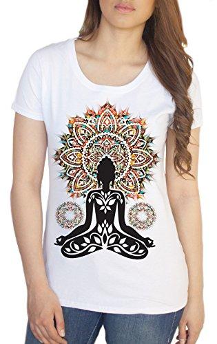 Damen Yoga-T-Shirt Aztec C1-20, Motiv: Buddha Chakra-Meditation Zen Gr. XXL, Weiß - Weiß (Buddha Peace T-shirt Top)