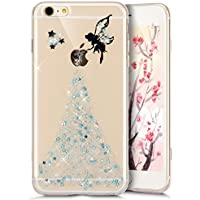 Funda iPhone 8, Carcasa iPhone 7, JAWSEU Apple iPhone 8/iPhone 7 4.7 Estuche Carcasa Caso Purpurina llamativa Ángel Creativa Diseño Lujo Moda Crystal Bling Ultra Delgado Suave Carcasa para iPhone 7 Cubierta Transparente Carcasa Cover para iPhone 8 Protectivo Parachoques Tapa Trasera Shell Brillo Brillante Cubierta Funda de Silicona para iPhone 8 / iPhone 7 - Ángel Azul