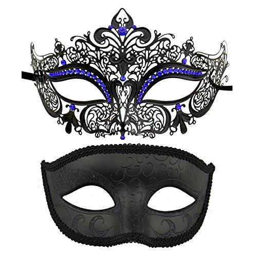 Coddsmz Die Party-Maske des Paares venezianische Maskerade Maskiert Karneval-Halloween-Kostüm-Maske (Schwarz Königsblau + Schwarz)