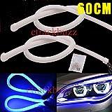 #7: Leebo 2x 60cm LED Car DRL Daytime Running Lamp Flexible Soft Tube Strip Light Blue (Free 1 Pair Parking Led) For Maruti Suzuki Ignis
