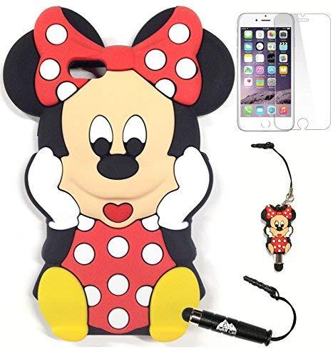 BUKIT Zelle Minnie Maus Fall Bundle: 3D Minnie Maus mit Polka Dots Soft Silicone Case für 11,9cm iPhone 6S/6+ 3D Figur Stylus Touch Pen + Displayschutzfolie + Metallic Stylus Touch Pen, Rot